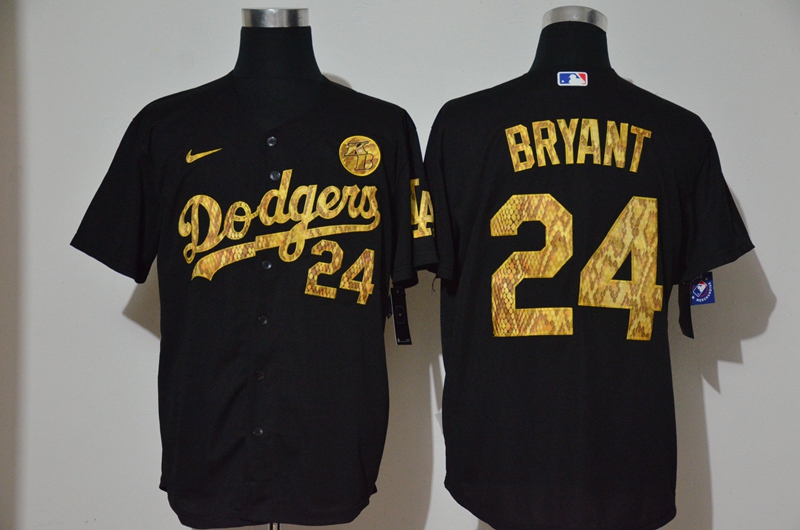 Dodgers 24 Kobe Bryant Black Gold 2020 Nike KB Cool Base Jersey