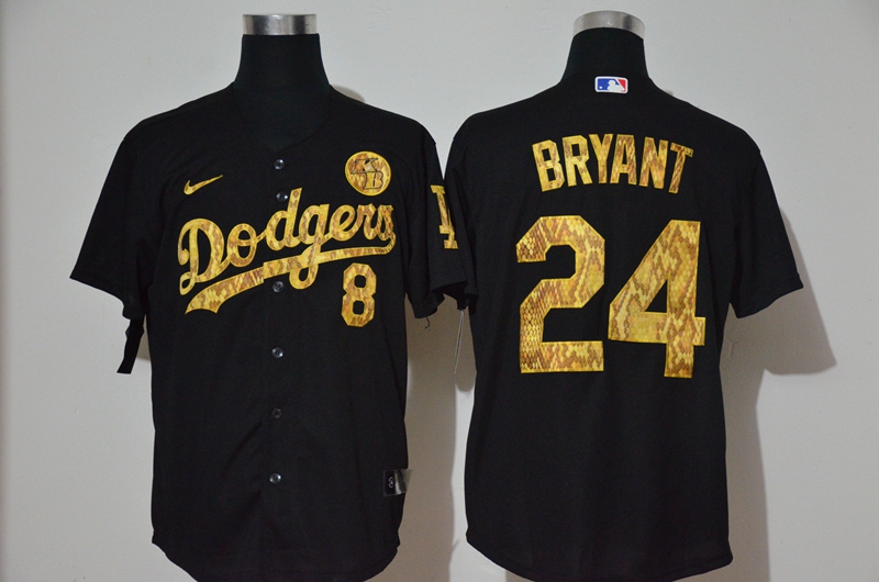 Dodgers 8 & 24 Kobe Bryant Black Gold 2020 Nike KB Cool Base Jersey