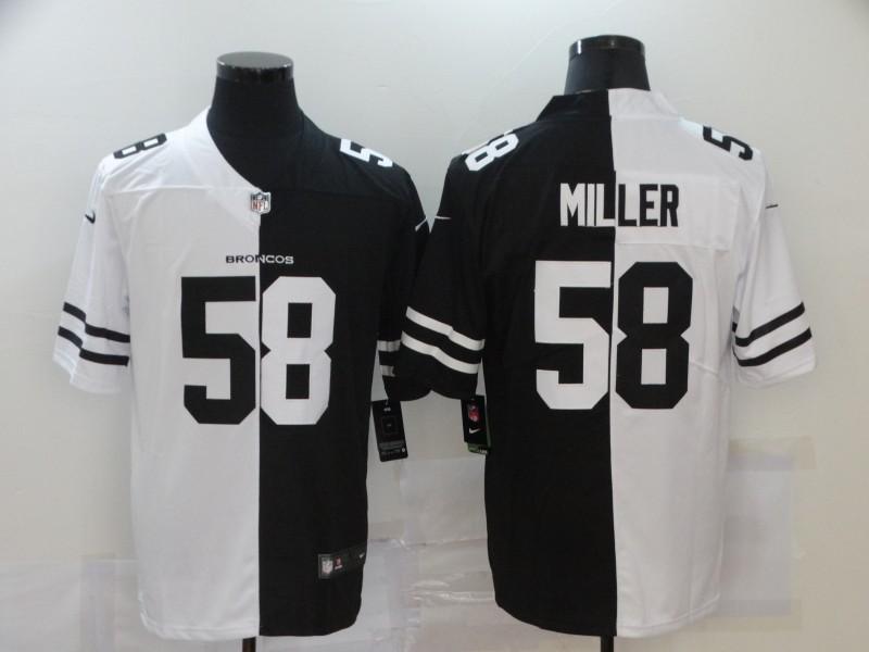 Nike Broncos 58 Von Miller Black And White Split Vapor Untouchable Limited Jersey