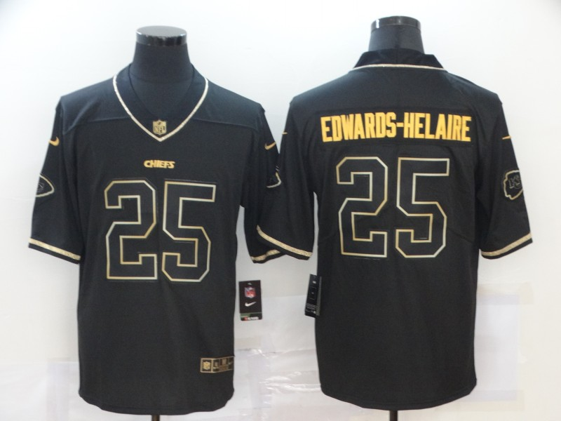 Nike Chiefs 25 Clyde Edwards Helaire Black Gold Vapor Untouchable Limited Jersey