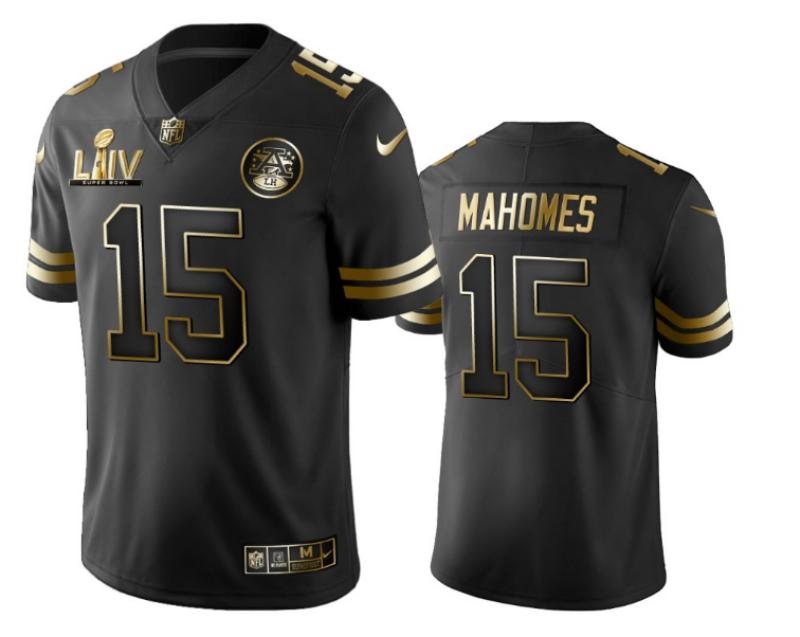 Nike Chiefs 15 Patrick Mahomes Black Gold 2020 Super Bowl LIV Vapor Untouchable Limited Jersey