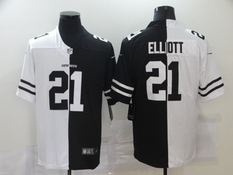Nike Cowboys 21 Ezekiel Elliott Black And White Split Vapor Untouchable Limited Jersey