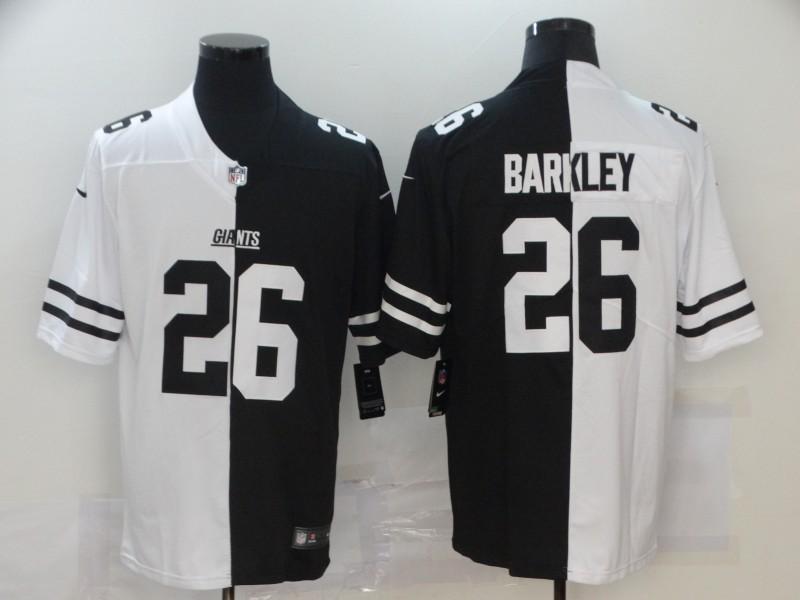 Nike Giants 26 Saquon Barkley Black And White Split Vapor Untouchable Limited Jersey