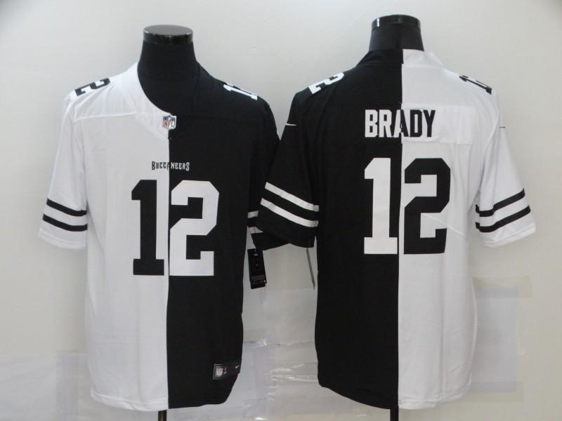 Nike Buccaneers 12 Tom Brady Black And White Split Vapor Untouchable Limited Jersey