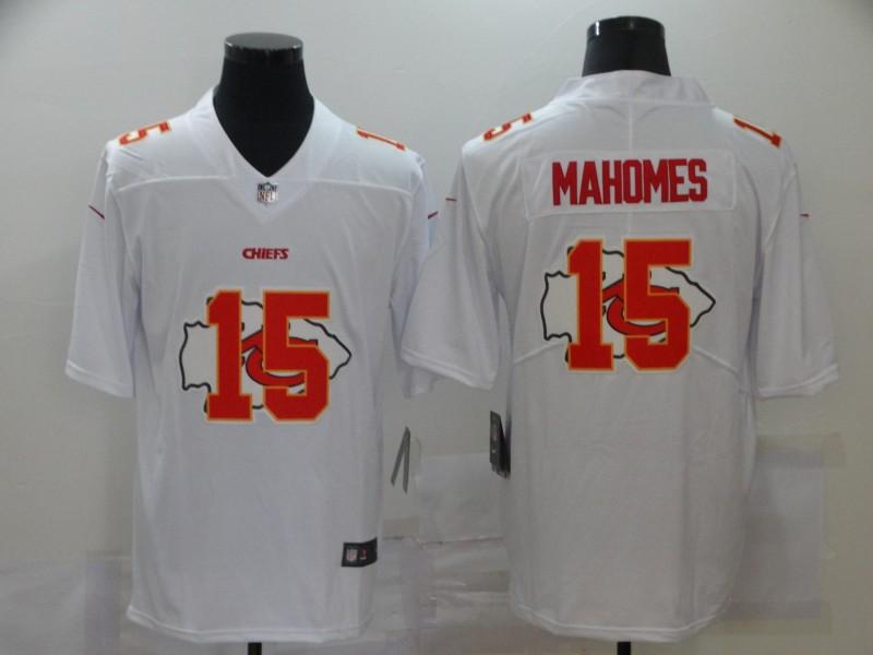 Nike Chiefs 15 Patrick Mahomes White Shadow Logo Limited Jersey