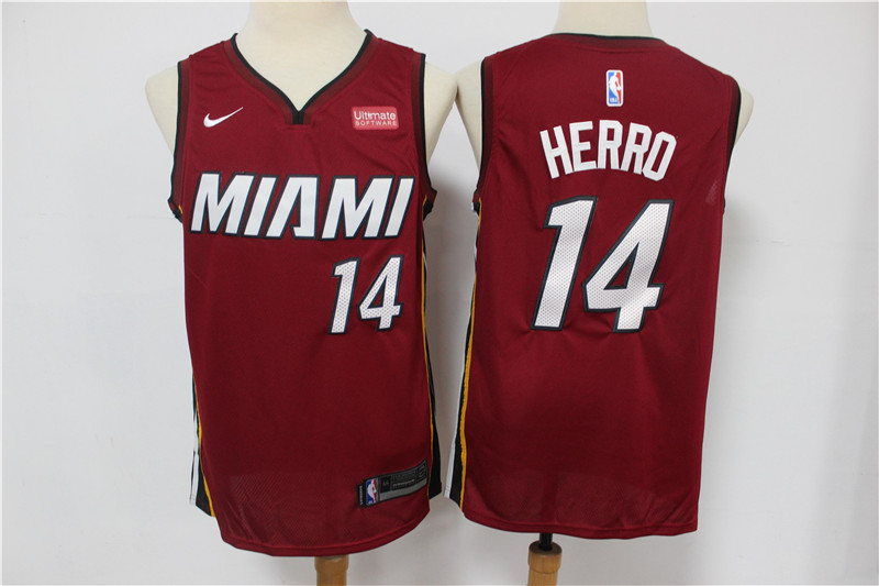 Heat 14 Tyler Herro Red Nike Swingman Jersey