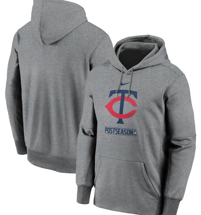 Men's Minnesota Twins Nike Gray 2020 Postseason Collection Pullover Hoodie