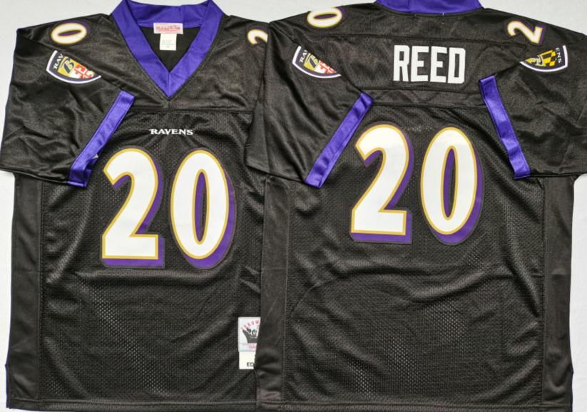 Ravens 20 Ed Reed Black M&N Throwback Jersey