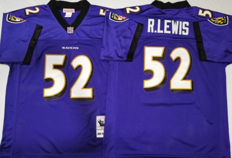 Ravens 52 Ray Lewis Purple M&N Throwback Jersey