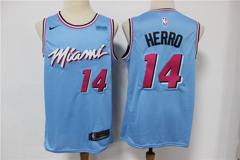 Heat 14 Tyler Herro Light Blue Nike 2020 City Edition Swingman Jersey
