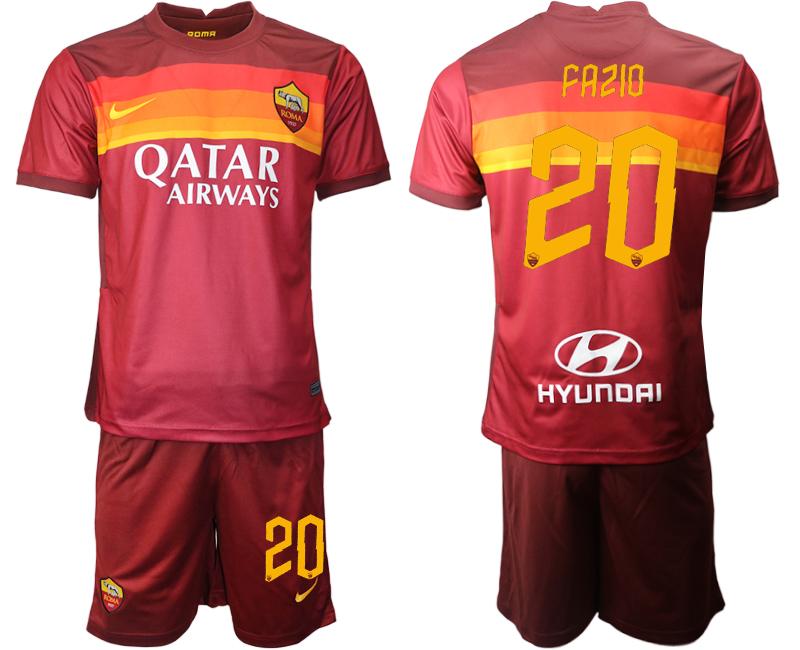 2020-21 Roma 20 FAZIO Home Soccer Jersey