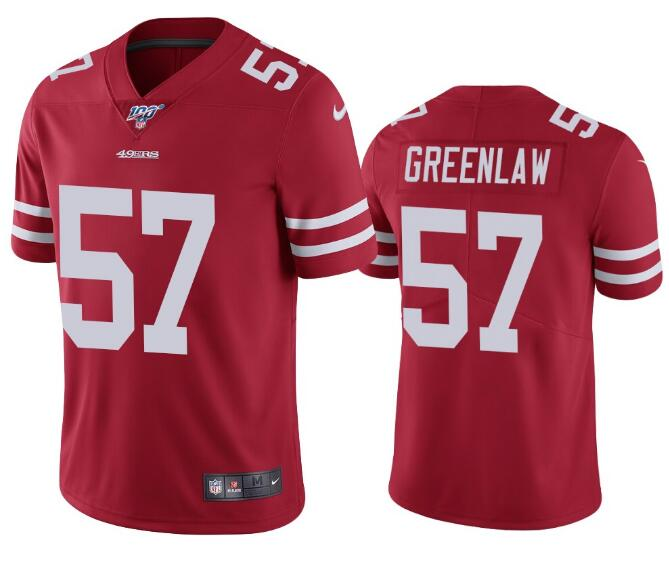 Nike 49ers 57 Dre Greenlaw Red 100th Season Vapor Untouchable Limited Jersey