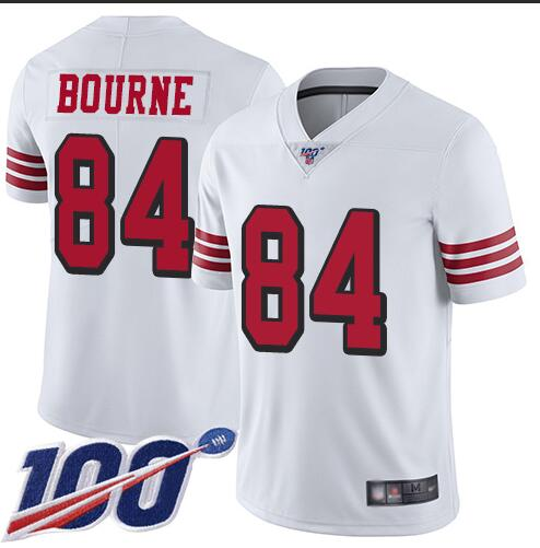 Nike 49ers 84 Kendrick Bourne White 100th Season Color Rush Vapor Untouchable Limited Jersey