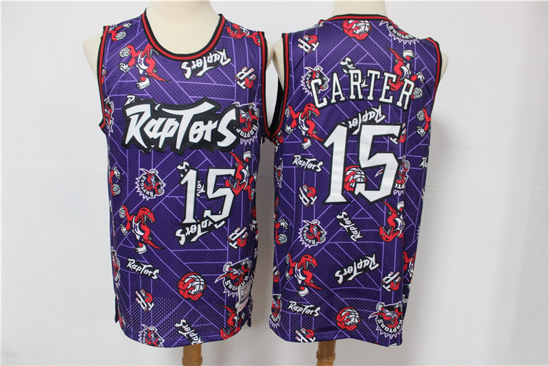 Raptors 15 Vince Carter Purple Tear Up Pack Hardwood Classics Swingman Jersey