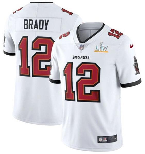 Nike Buccaneers 12 Tom Brady White 2021 Super Bowl LV Vapor Untouchable Limited Jersey