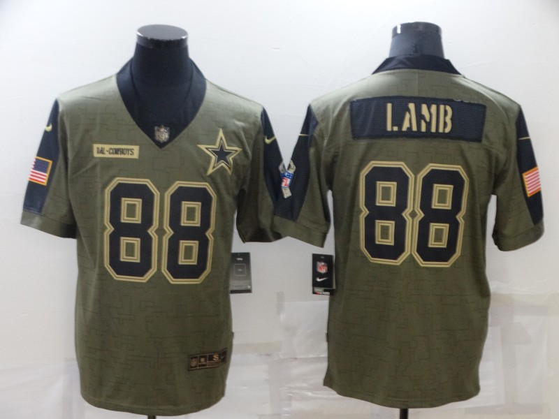 Nike Cowboys 88 CeeDee Lamb Olive 2021 Salute To Service Limited Jersey