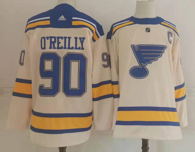 Blues 90 Ryan O'Reilly Cream 2022 Winter Classic Adidas Jersey