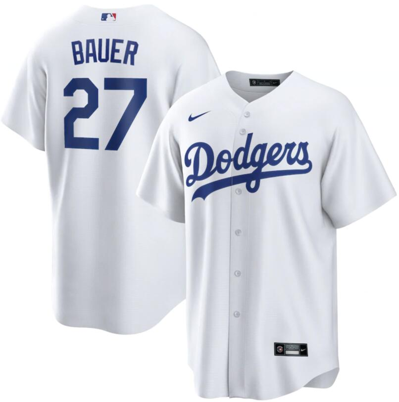 Dodgers 27 Trevor Bauer White Nike Cool Base Jersey