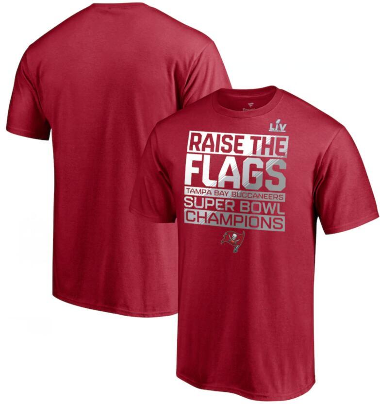 Men's Tampa Bay Buccaneers Fanatics Branded Red Super Bowl LV Champions Parade Celebration T-Shirt