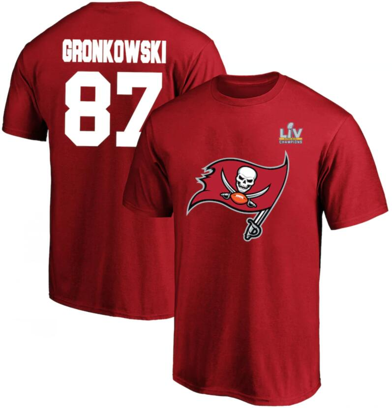 Men's Tampa Bay Buccaneers Rob Gronkowski Fanatics Branded Red Super Bowl LV Champions Big & Tall Name & Number T-Shirt