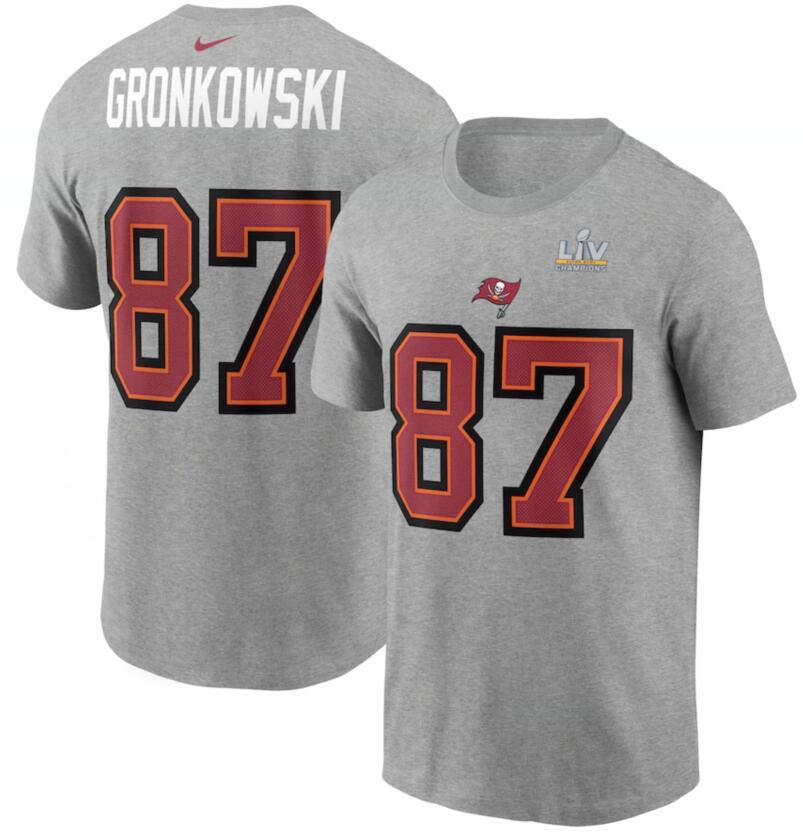 Men's Tampa Bay Buccaneers Rob Gronkowski Nike Heathered Gray Super Bowl LV Champions Name & Number T-Shirt