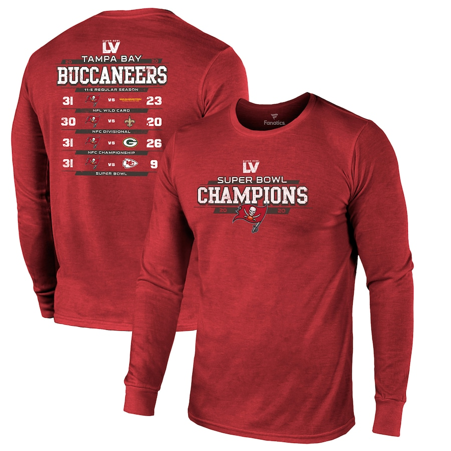 Men's Tampa Bay Buccaneers Fanatics Branded Red Super Bowl LV Champions Running Back Schedule Long Sleeve T-Shirt