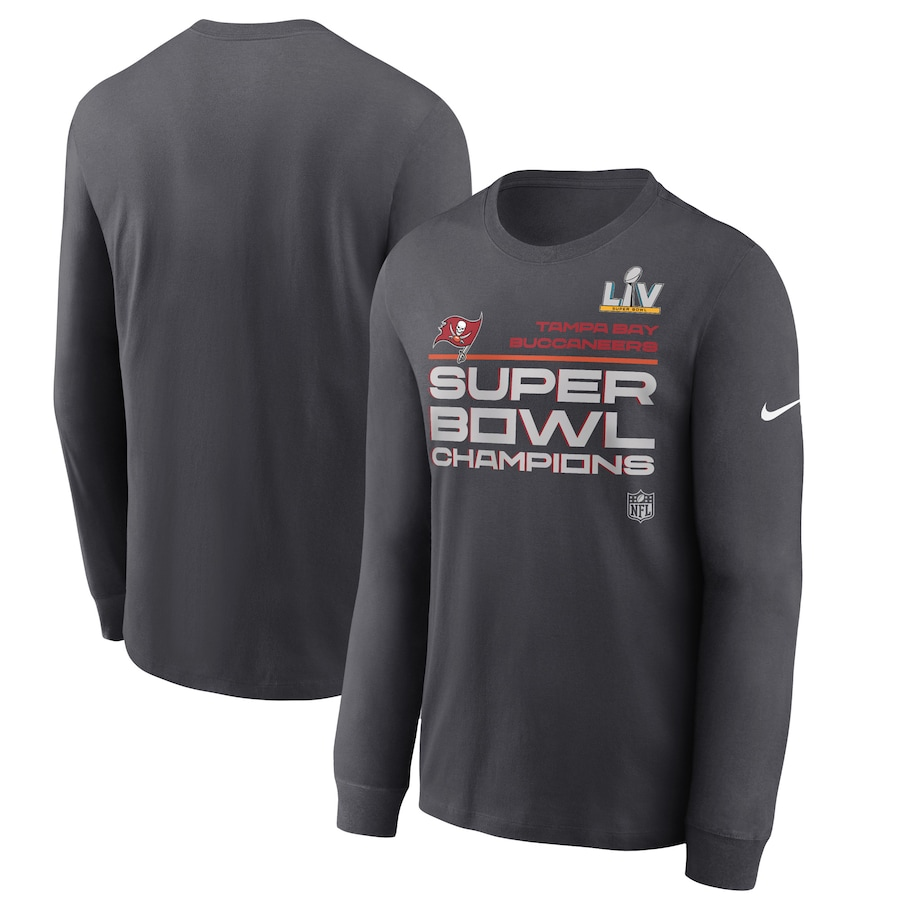 Men's Tampa Bay Buccaneers Nike Anthracite Super Bowl LV Champions Locker Room Trophy Collection Long Sleeve T-Shirt