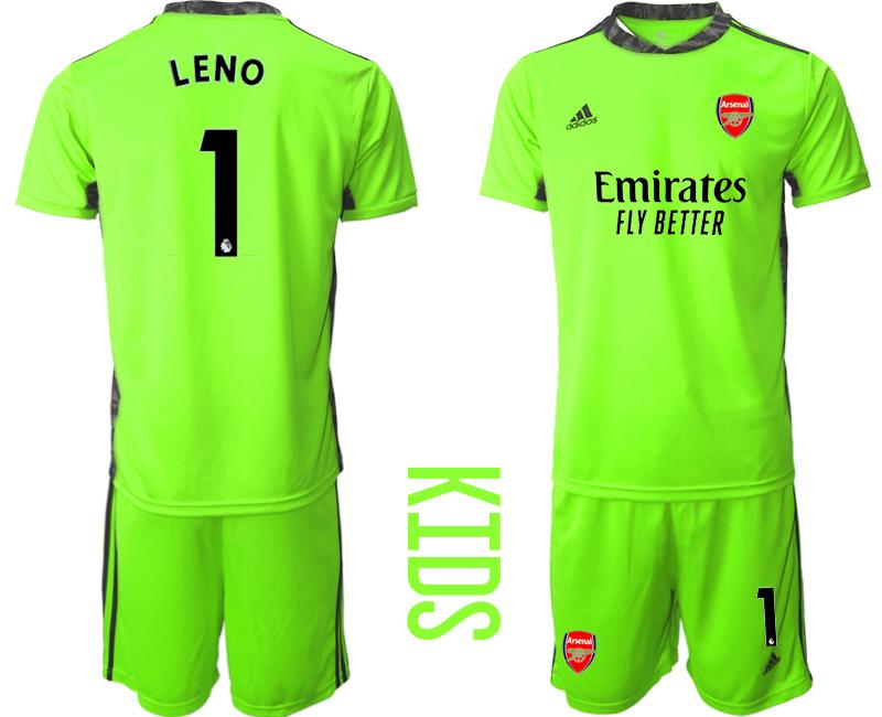 2020-21 Arsenal 1 LENO Fluorescent Youth Goalkeeper Soccer Jersey