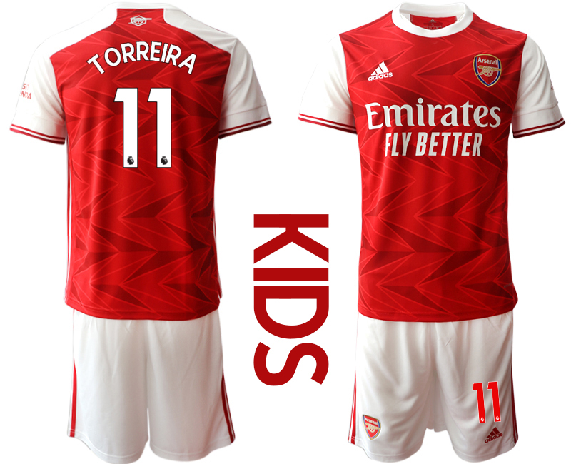 2020-21 Arsenal 11 TORREIRA Youth Home Soccer Jersey