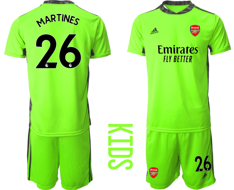 2020-21 Arsenal 26 MARTINES Fluorescent Youth Goalkeeper Soccer Jersey