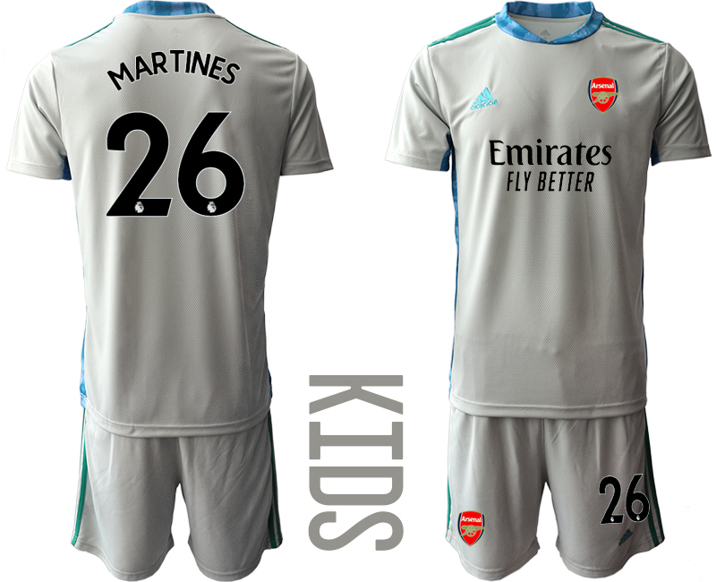 2020-21 Arsenal 26 MARTINES Gray Youth Goalkeeper Soccer Jersey
