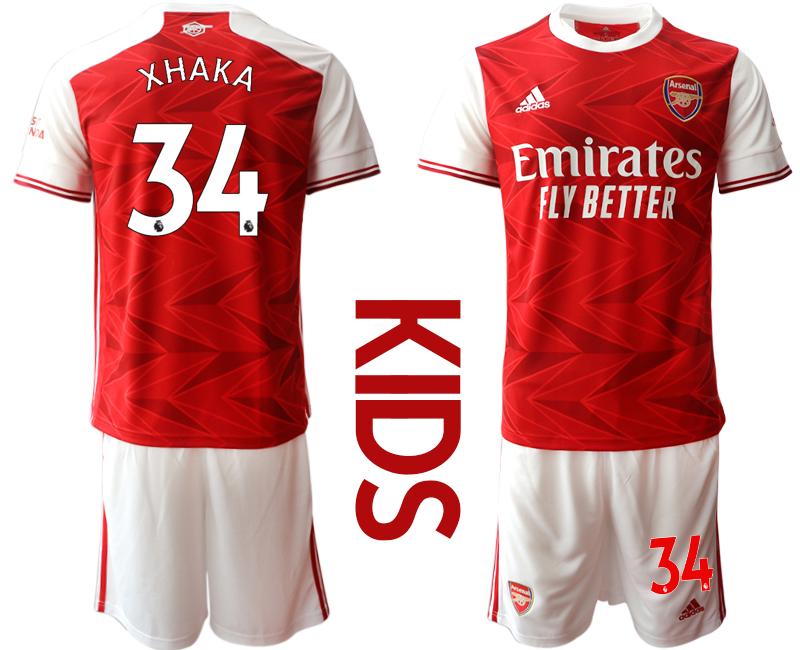 2020-21 Arsenal 34 XHAKA Youth Home Soccer Jersey