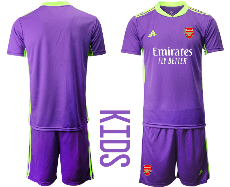 2020-21 Arsenal Purple Youth Goalkeeper Soccer Jersey