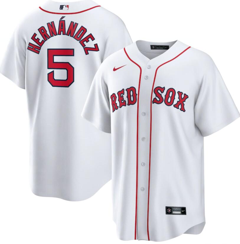 Red Sox 5 Enrique Hernandez White Nike Cool Base Jersey