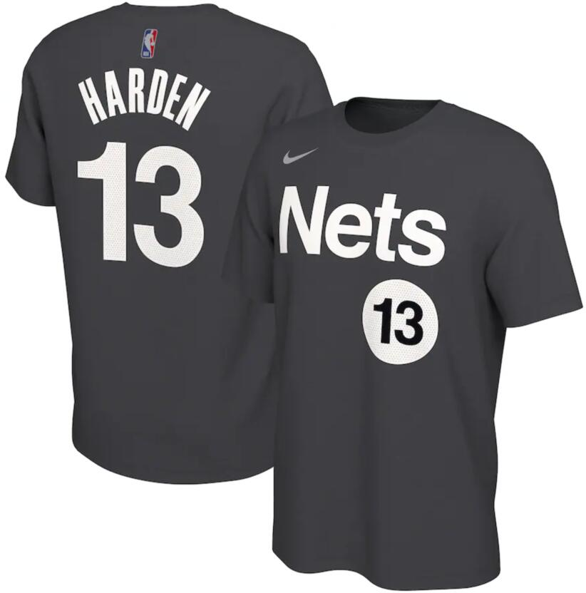Men's Brooklyn Nets James Harden Nike Black 2020-21 Earned Edition Name & Number T-Shirt