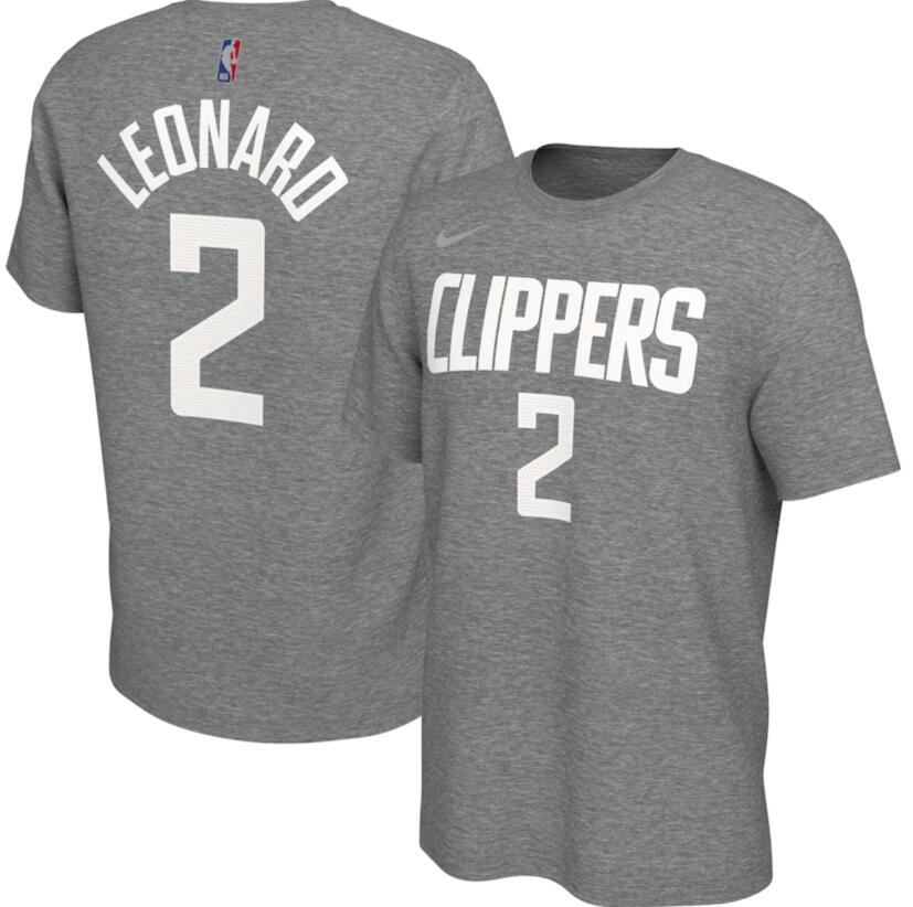 Men's LA Clippers Kawhi Leonard Nike Gray 2020-21 Earned Edition Name & Number T-Shirt