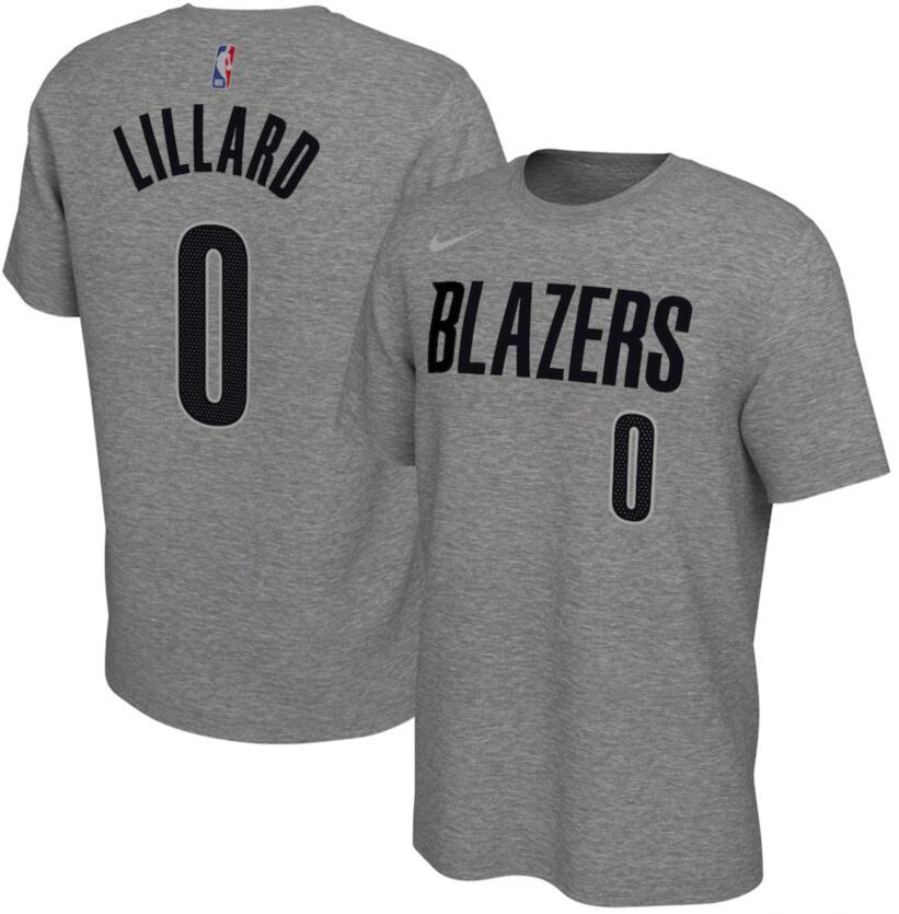 Men's Portland Trail Blazers Damian Lillard Nike Gray 2020-21 Earned Edition Name & Number T-Shirt