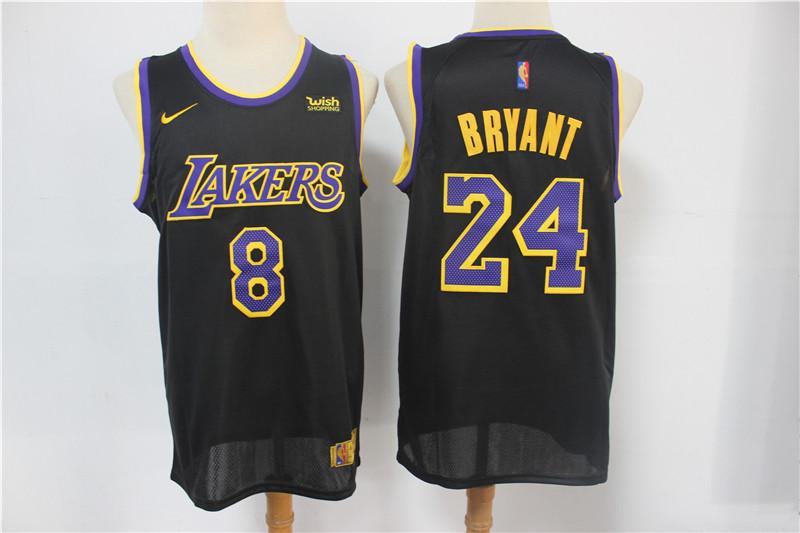 Lakers 8 & 24 Kobe Bryant Black 2021 Earned Edition Nike Swingman Jersey