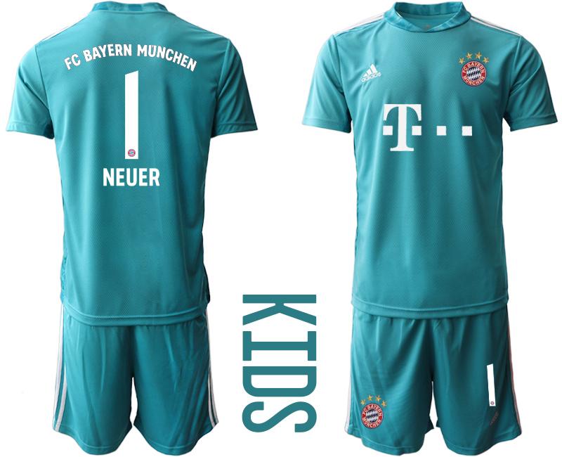 2020-21 Bayern Munich 1 NEUER Blue Youth Goalkeeper Soccer Jersey
