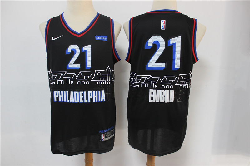 76ers 21 Joel Embiid Black 2020-21 City Edition Nike Swingman Jersey