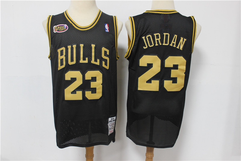 Bulls 23 Michael Jordan Black Gold NBA Finals Patch Jersey