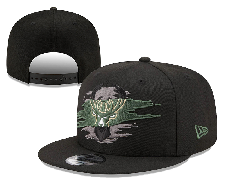 Bucks Team Logo Tear Black New Era Adjustable Hat YD