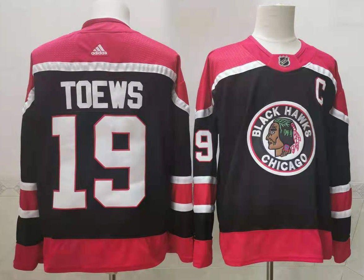 Blackhawks 19 Jonathan Toews Navy 2020-21 Reverse Retro Adidas Jersey