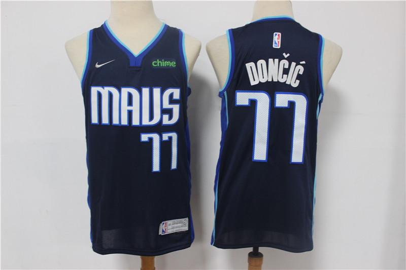 Mavericks 77 Luka Doncic Navy 2021 Earned Edition Nike Swingman Jersey
