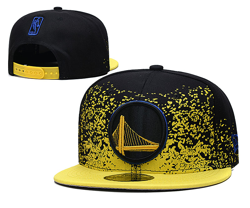 Warriors Team Logo New Era Black Yellow Fade Up Adjustable Hat YD