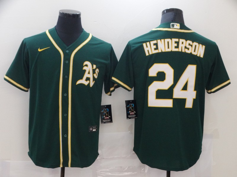 Athletics 24 Rickey Henderson Green Nike Cool Base Jersey