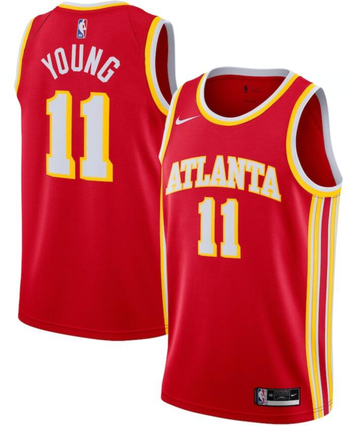 Hawks 11 Trae Young Red Nike Swingman Jersey