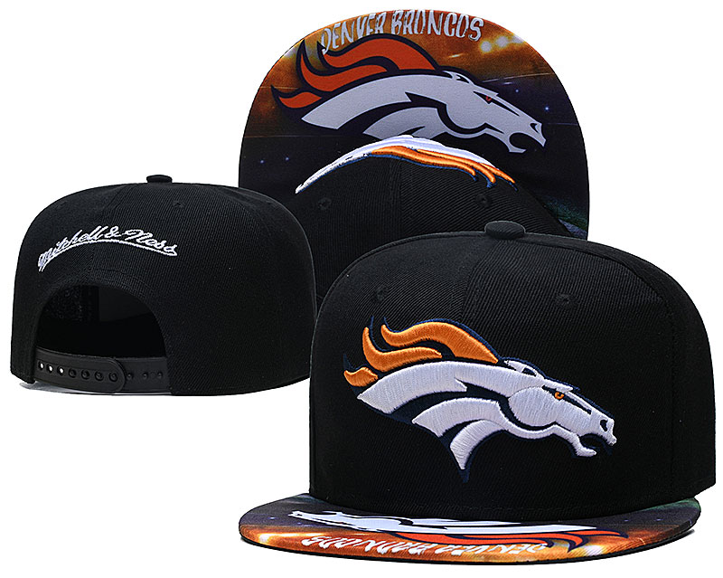 Broncos Team Logo Black Mitchell & Ness Adjustable Hat LH