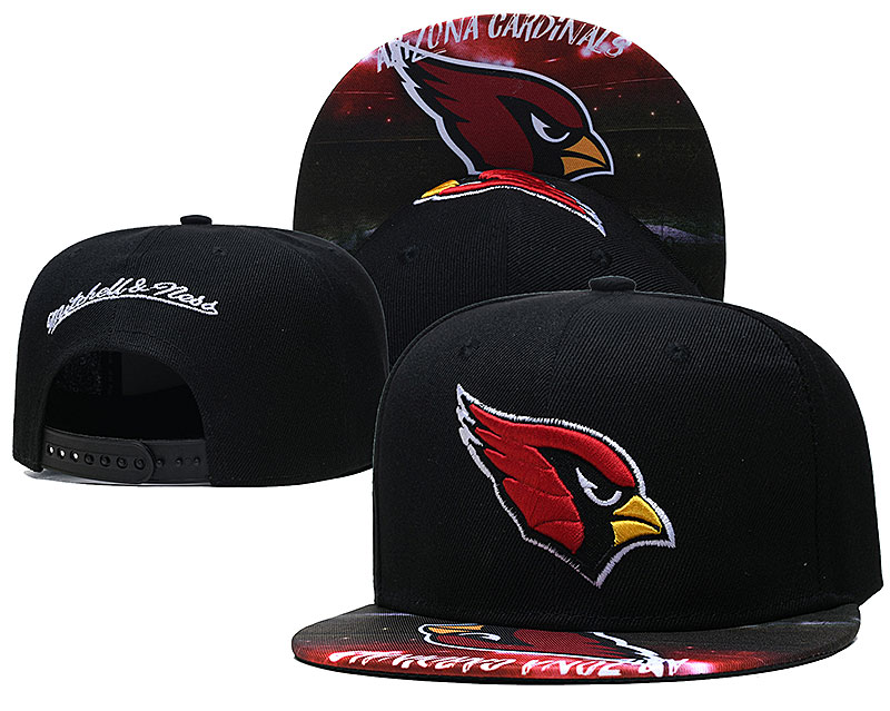 Cardinals Team Logo Black Mitchell & Ness Adjustable Hat LH