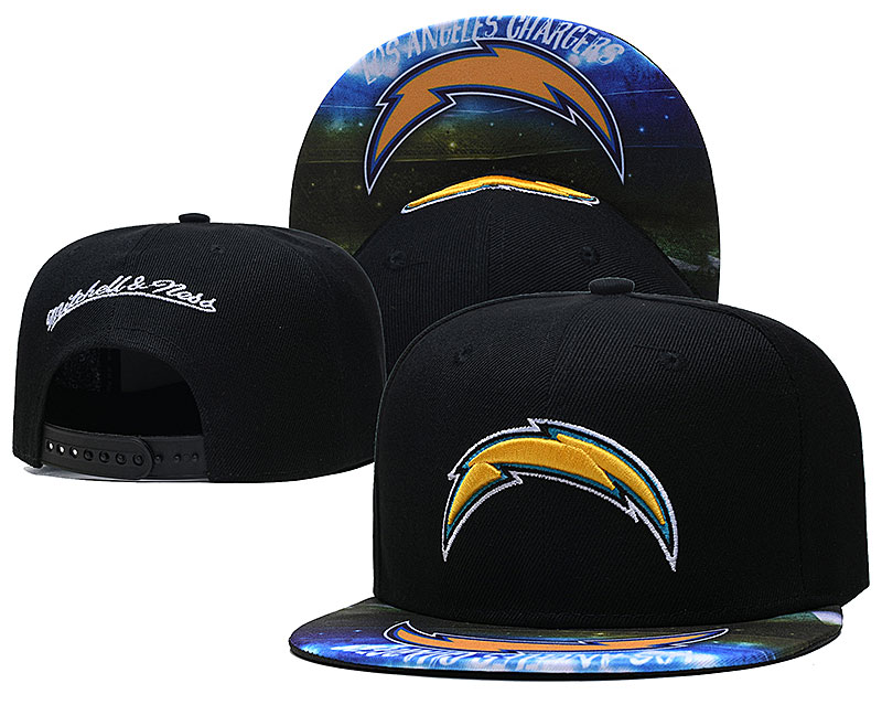 Chargers Team Logo Black Mitchell & Ness Adjustable Hat LH